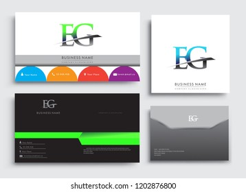 Clean and simple modern Business Card Template, with initial letter EG logotype company name colored blue and green swoosh design. Vector sets for business identity, Stationery Design.