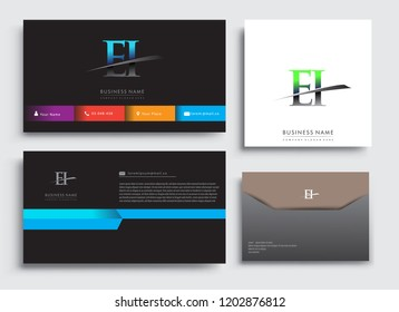 Clean and simple modern Business Card Template, with initial letter EI logotype company name colored blue and green swoosh design. Vector sets for business identity, Stationery Design.