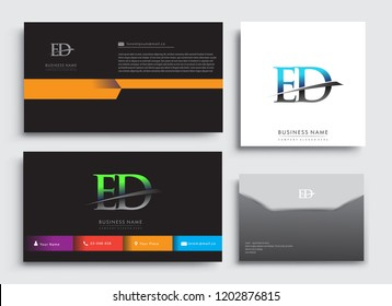 Clean and simple modern Business Card Template, with initial letter ED logotype company name colored blue and green swoosh design. Vector sets for business identity, Stationery Design.