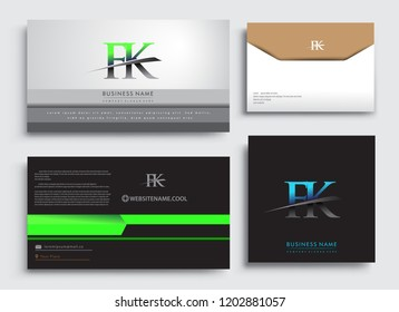 Clean and simple modern Business Card Template, with initial letter FK logotype company name colored blue and green swoosh design. Vector sets for business identity, Stationery Design.