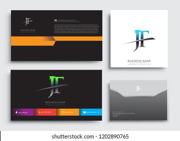 Clean and simple modern Business Card Template, with initial letter JT logotype company name colored blue and green swoosh design. Vector sets for business identity, Stationery Design.