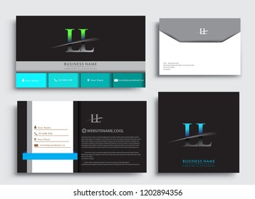 Clean and simple modern Business Card Template, with initial letter LL logotype company name colored blue and green swoosh design. Vector sets for business identity, Stationery Design.