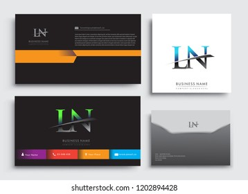 Clean and simple modern Business Card Template, with initial letter LN logotype company name colored blue and green swoosh design. Vector sets for business identity, Stationery Design.