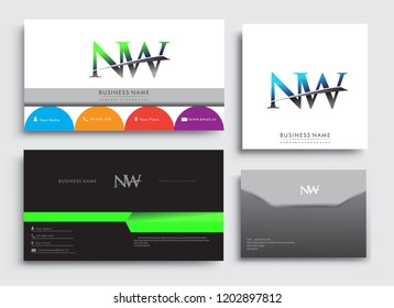 Clean and simple modern Business Card Template, with initial letter NW logotype company name colored blue and green swoosh design. Vector sets for business identity, Stationery Design.