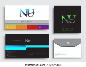 Clean and simple modern Business Card Template, with initial letter NU logotype company name colored blue and green swoosh design. Vector sets for business identity, Stationery Design.