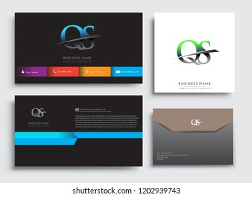 Clean and simple modern Business Card Template, with initial letter QS logotype company name colored blue and green swoosh design. Vector sets for business identity, Stationery Design.