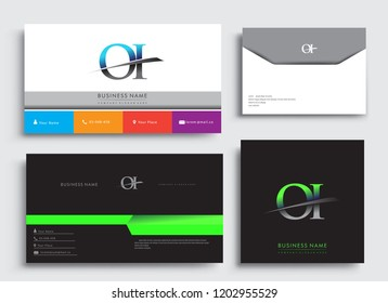 Clean and simple modern Business Card Template, with initial letter OI logotype company name colored blue and green swoosh design. Vector sets for business identity, Stationery Design.
