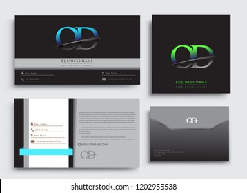Clean and simple modern Business Card Template, with initial letter OD logotype company name colored blue and green swoosh design. Vector sets for business identity, Stationery Design.
