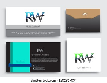 Clean and simple modern Business Card Template, with initial letter RW logotype company name colored blue and green swoosh design. Vector sets for business identity, Stationery Design.