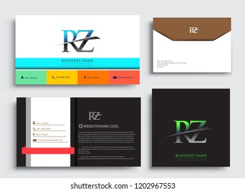 Clean and simple modern Business Card Template, with initial letter RZ logotype company name colored blue and green swoosh design. Vector sets for business identity, Stationery Design.