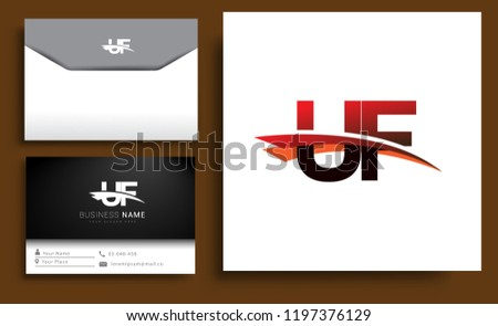 Clean And Simple Modern Business Card Template Initial Letter UF Logotype Company Name