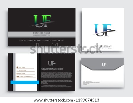 Clean And Simple Modern Business Card Template With Initial Letter UF Logotype Company Name Colored