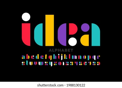 Clean and simple modern style lowercase font design, alphabet letters and numbers vector illustration
