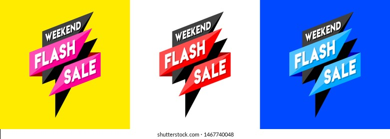Clean Simple Weekend Flash Sale Concept, Logo, Greeting, Card, Placard, Design, Template, Banner, Icon, Poster, Unit, Label, Web Header, Mnemonic on yellow, blue and white background - Vector