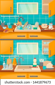 Clean sink with kitchenware of modern kitchen with furniture and utensils. Washing dishes kitchen sink with dirt unwashed dish and accessories in the dining-dining room cartoon vector illustration.
