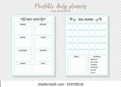 Clean style daily planner vector template. Stationery Design. Cute and simple printable to do list.