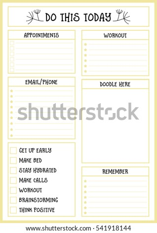 clean style daily planner vector template stock vector royalty free