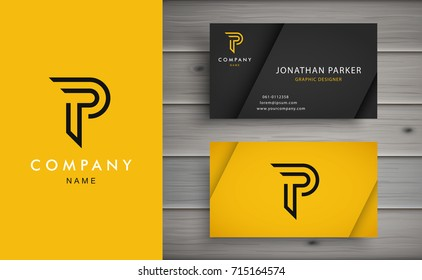 Clean and stylish logo forming the letter P with business card templates.