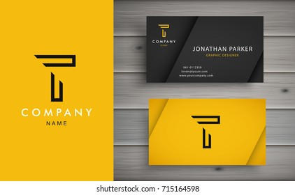 Clean and stylish logo forming the letter T with business card templates.