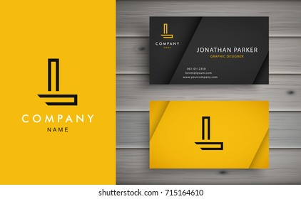 Clean and stylish logo forming the letter L with business card templates.