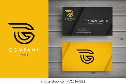 Clean and stylish logo forming the letter G with business card templates.