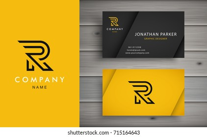 Clean and stylish logo forming the letter R with business card templates.