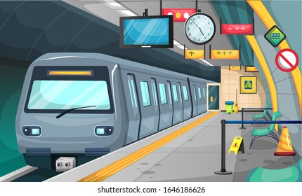 Clean Subway Train Station with Floor and Stop Sign, Chairs, Recycle Trash, Broom, Big Clock, TV Time for Vector Illustration Interior Design Ideas