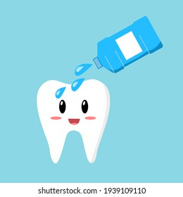 Clean teeth with mouthwash in flat design. Smiling teeth cartoon dental care. Oral healthcare with mouthwash for plaque prevention and fresh breath.