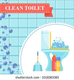 Clean toilet concept. Banner for cleaning service. Flat vector Illustration for the site, advertising, flyer and poster. background.