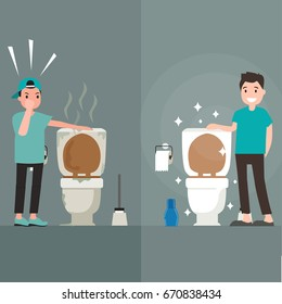 Clean toilet versus dirty toilet