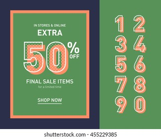 Clean trendy sale banner template. Flat design. Retro colors. Vector.