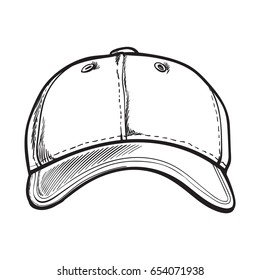 Clean, unlabelled black and white textile baseball cap, sketch style vector illustration isolated on white background. Realistic isolated hand drawing of baseball cap, front view