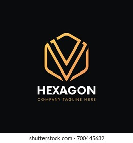 Clean V letter luxury logo linear icon hexagon sign vintage design.