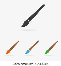 Clean vector color art brush symbol icon set