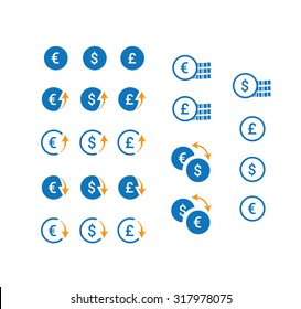 Clean vector currency icons set.