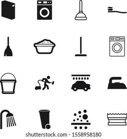 clean vector icon set such as: concept, dirty, teeth, iron, figure, conditioning, healthy, fresh, mechanical, bucket, dentist, stick, vintage, cartoon, detergent, trashcan, waste, conditioner, rain