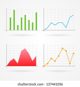 Clean vector set of different graph types, good for infographics