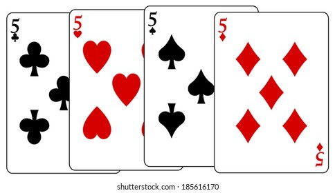 Clean vector set of playing cards, five, vector art image illustration, isolated on white background