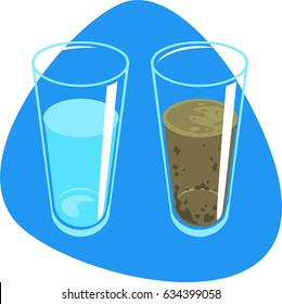 Clean water and dirty water with sludge in tall glasses. Isolated. On blue background.