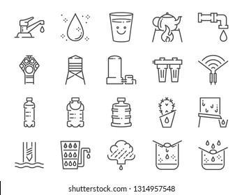 Clean water line icon set. Included icons as drink, drinkable, filter, purifiers, moisture and more.