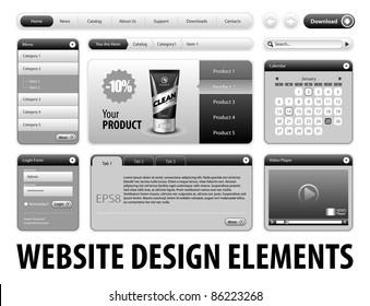 Clean Website Design Gray Elements: Buttons, Form, Slider, Scroll, Icons, Tab, Menu, Navigation Bar, Login, Video player, Calendar, Arrows, Download, Template : Part 3 Vector