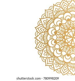 Clean white cover with gold beautiful flower. Golden vector mandala isolated on white background. A symbol of life and health.