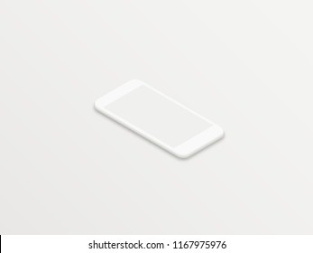 Clean white isometric realistic smartphone vector mockup with blank screen on white background. Minimal isometric user interface smartphone UI concept.