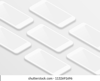 Clean white isometric realistic smartphones with blank screens vector grid. Mobile app user interface ui kit concept smartphone screens shiny mockup on white background.
