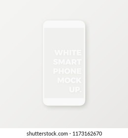 Clean white realistic smartphone vector mockup with blank screen on white background. Minimal user interface smartphone app UI concept.