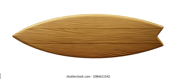 Clean wooden surfboard isolated on white background EPS 10 contains transparency.