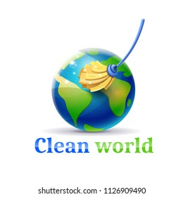 Clean the world of pollution and garbage: concept of planet earth and mop cleaning it