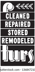 Cleaned Repaired Furs - Retro Ad Art Banner