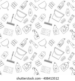 cleaner equipment products in bucket for cleaning housework domestic brush sponge bottle spray and protective gloves, housekeeping vector illustration or banner seamless pattern