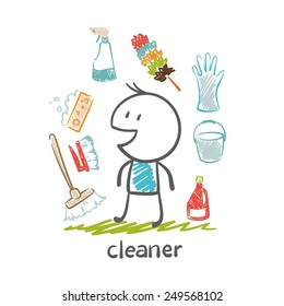 cleaner with items for cleaning illustration